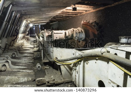 Longwall Mining: Shearer, with two rotating cutting drums and movable hydraulic powered roof supports called shields. - stock photo