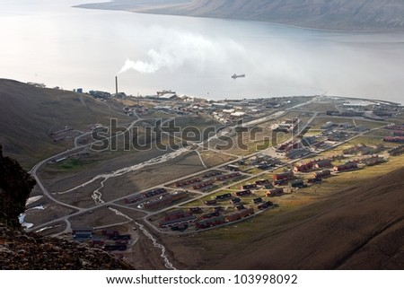 Longyearbyen - the largest settlement on Svalbard archipelago in the Arctic - stock photo