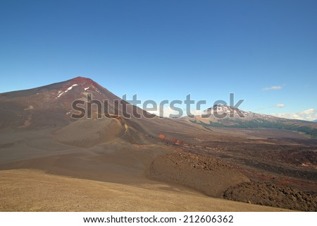 Lonquimay and Tolhuaca volcano, in Malalcahuello and Nalcas National Park, Chile - stock photo