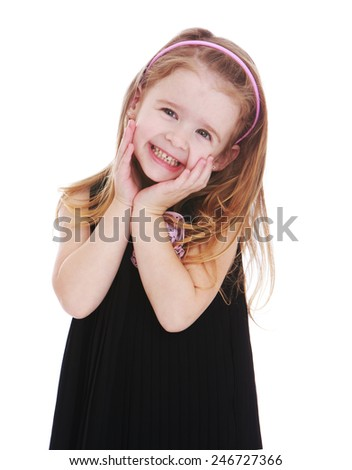 Look adorable little girl.Isolated on white background - stock photo