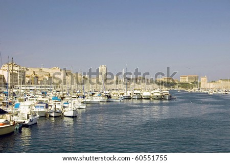 Look at Marseille from the Mediterranean Sea seenly - stock photo