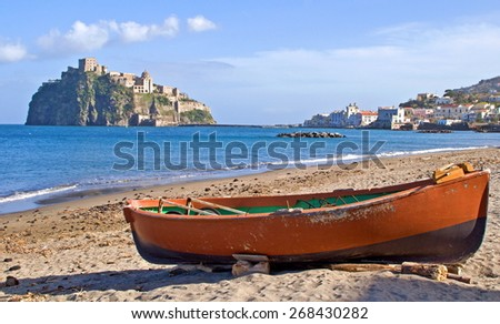 Look on ancient fortress of the aragons on Ischia island, Italy