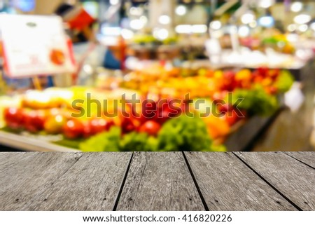 Look out from the table, blur image of food court in the mall use for background scene or use for product presentation related images. - stock photo