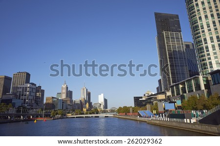 look out on bridge over Yarra River, Melbourne - stock photo