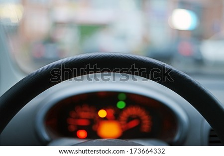 Look  through a car wheel - stock photo