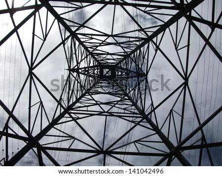 Look up the pylon - stock photo