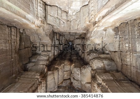 Look up to Angkor Wat ceiling - stock photo