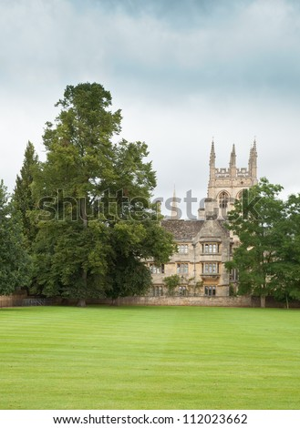 Looking across the playing fields at Oxford University towards Christ Church