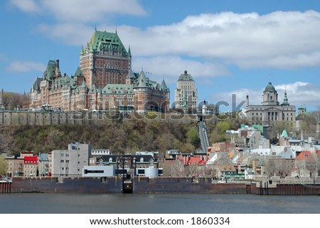 Looking across the St. Lawrence at historic Quebec City. - stock photo
