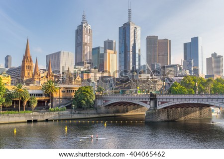 Looking across the Yarra River to Melbourne CBD - stock photo