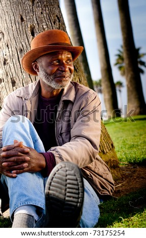 Looking askance an African American leisure's. - stock photo