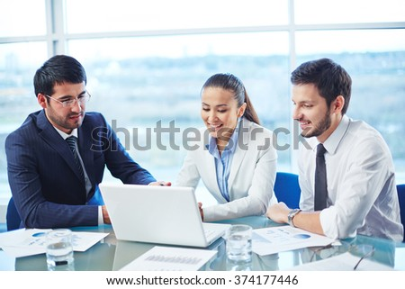 Looking at data - stock photo
