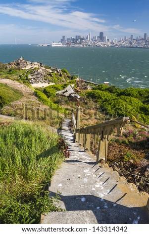 Looking at San Fransisco from Alcatraz Island - stock photo