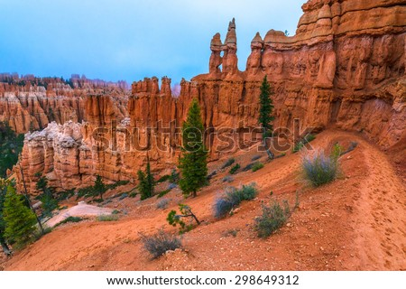 Looking down a winding Peek-a-boo loop trail Bryce Canyon - stock photo