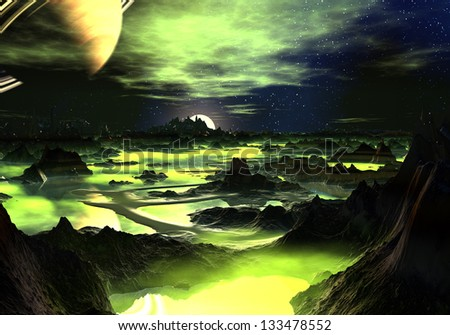 Looking down across a strange, rocky mountain landscape where the numerous lakes are covered with luminous, lime green mist. - stock photo