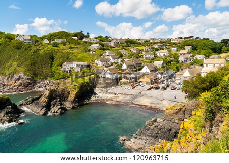 Looking down at Cadgwith Cove on the Lizard Peninsula, Cornwall England UK