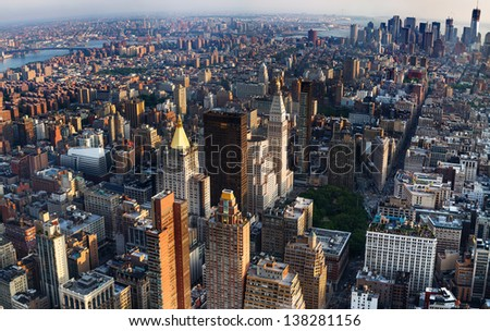 Looking down at New York City, Direction south, 5th Av, Broadway etc., wide angle