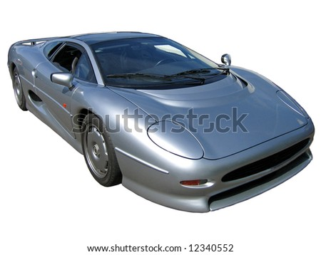 looking down isolated 80s silver super car - stock photo