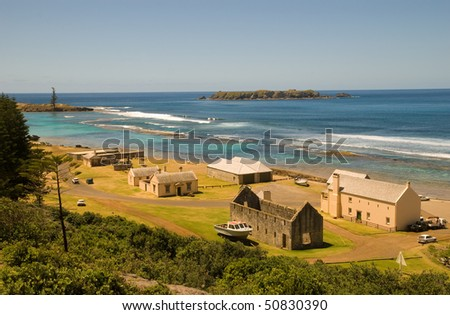 Looking down onto the old penal ruins at Kingston Norfolk Island - stock photo