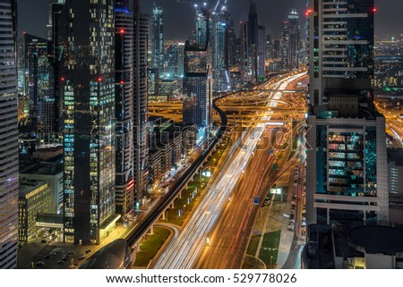 Looking down Sheik Zayed Road in Dubai the UAE