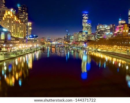 looking down the yarra river on a beautiful night in melbourne - stock photo