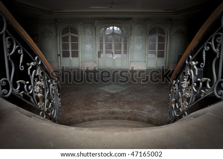 Looking down to an old vintage ballroom - stock photo
