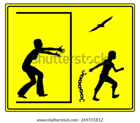 Looking for Independence. Concept sign of teenager in her puberty fighting for self- determination - stock photo