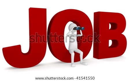 Looking for job. Looking for job concept depicting 3D man sitting inside O letter. - stock photo