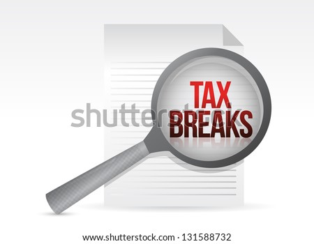 looking for tax breaks. Under a magnifier. Illustration design over white - stock photo