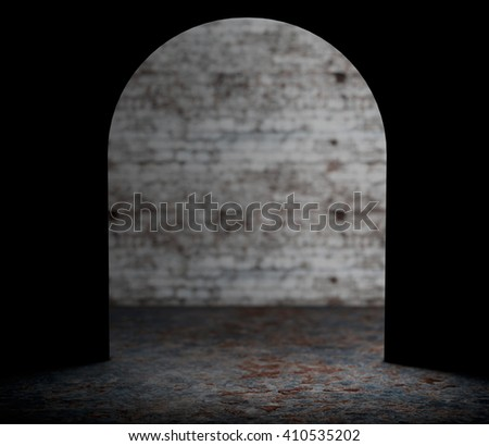 Looking from Mouse Wall Hole extreme closeup. 3d Rendering - stock photo