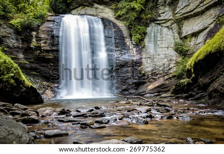 Looking Glass Falls in Pisgah Forest, NC - stock photo