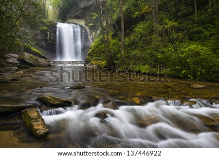 Looking Glass Falls North Carolina Blue Ridge Parkway Waterfalls near Brevard in Western NC Appalachian Mountains - stock photo
