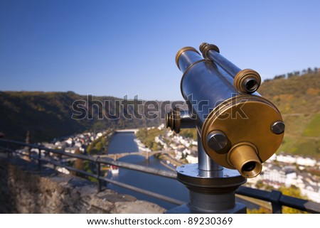 Looking glass viewing the river Mosel in Germany. - stock photo