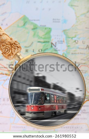 Looking in on a street car in Toronto, Ontario, Canada with motion blur - stock photo