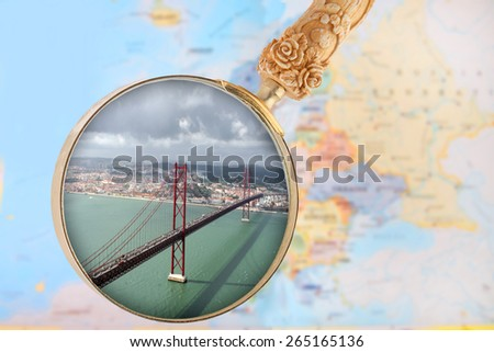 Looking in on Lisbon bridge over the Tejo river, Portugal, Europe - stock photo