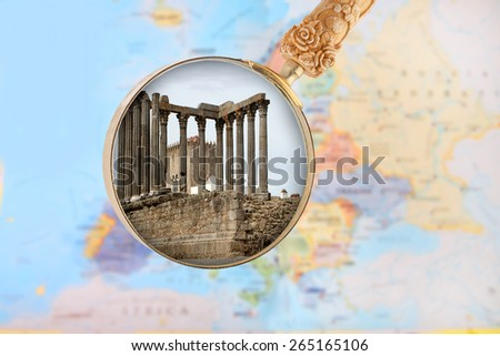Looking in on the Temple of Diana in Evora, Portugal, Europe  - stock photo
