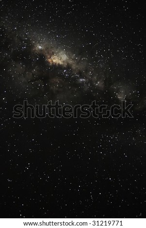 looking into the milky way on a starry night - stock photo