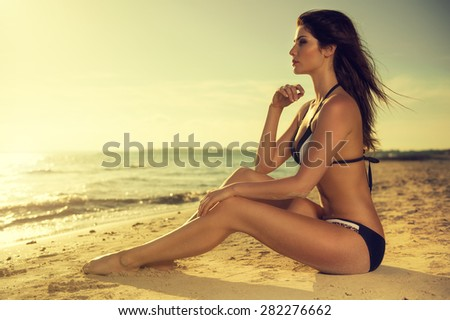 looking into the sunset - stock photo