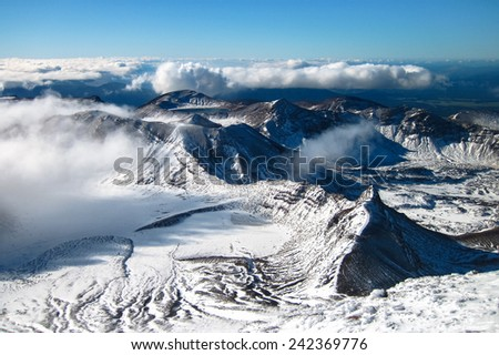 Looking North in Tongariro National Park, New Zealand - stock photo
