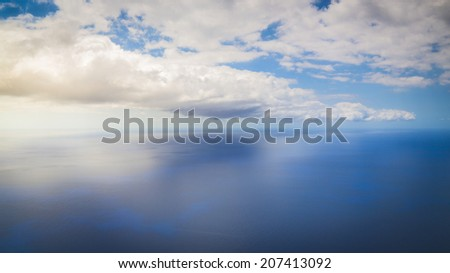 Looking onto the open ocean from Cabo Girao in Camara de Lobos in Madeira - stock photo