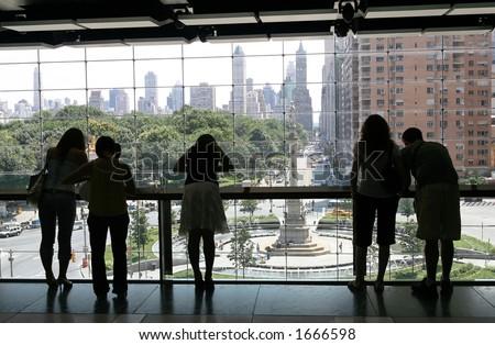 Looking out at Columbus Circle - stock photo
