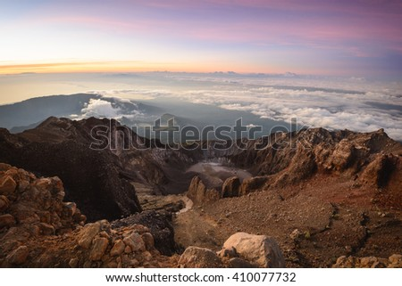 Looking out east from the summit of Mt. Rinjani in Lombok, Indonesia