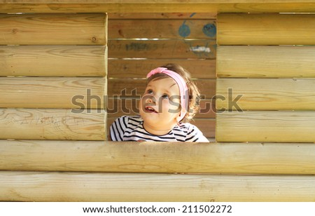 looking out the window baby  - stock photo