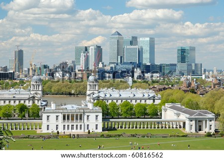 Looking over Greenwich with Canary Wharf in the background - stock photo