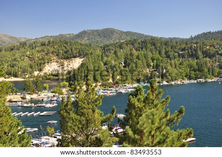 Looking over Lake Arrowhead and the scenic San Bernardino National Forest in Southern California. - stock photo