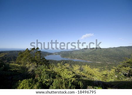 Looking over Manakau harbor in Auckland - stock photo