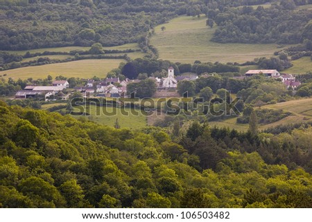 Looking over the Burgundy countryside to the village of Mavilly Mandelot.