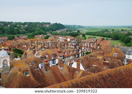 Looking over the rooftops of the historic Cinque Port town of Rye in East Sussex, England. - stock photo