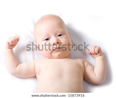 looking serious cute baby boy with white background - stock photo