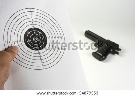 Looking shooting results - stock photo